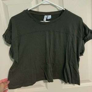 Olive Boxy Crop Top